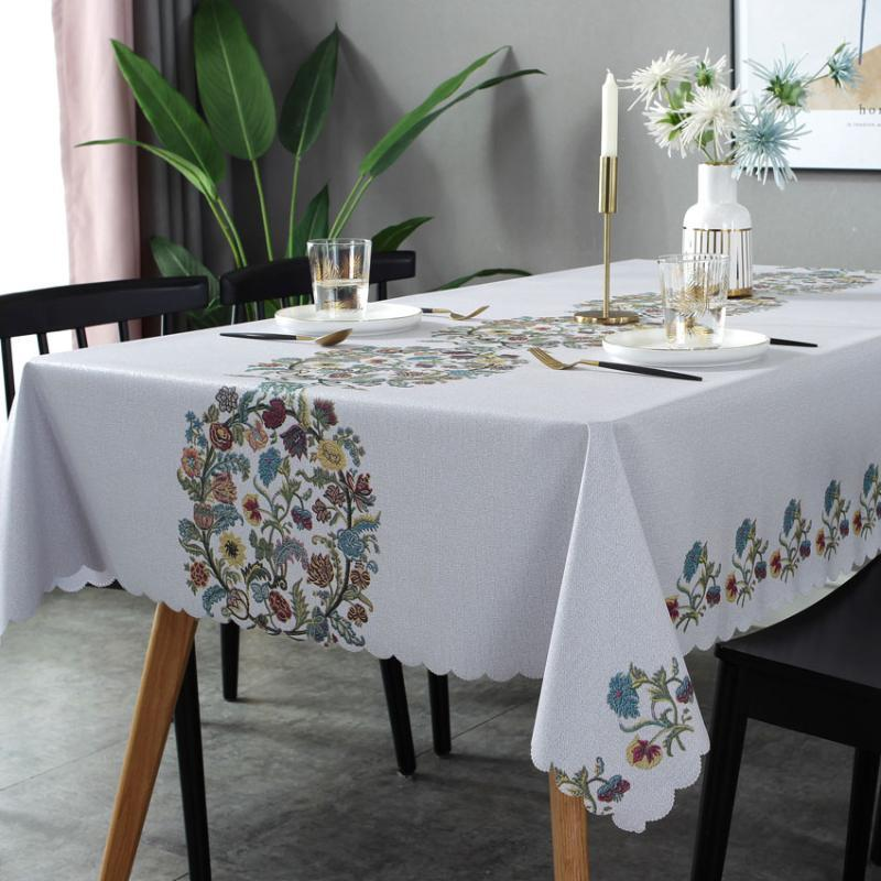 Leaves Print Waterproof Oilproof Disposable Pastoral Style PVC Tablecloth Rectangular Table Desk Mat Embroidery Laudlina
