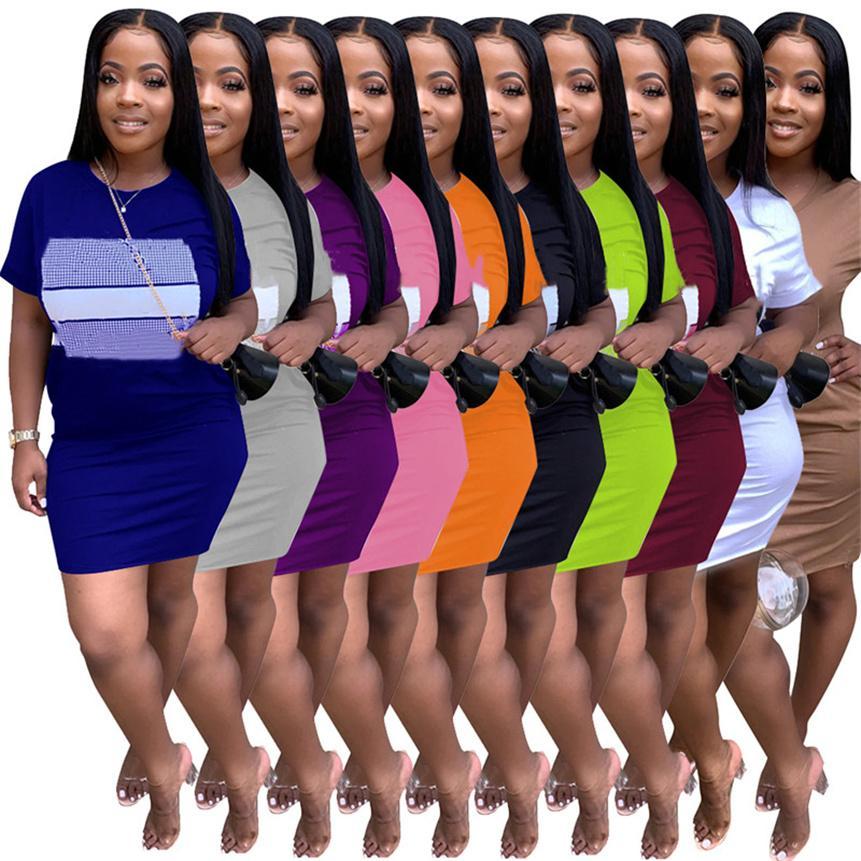 Frauen Casual Kleider Brief Drucken Mini Röcke Mode Sommer Kleidung Kurzarm Skinny Kleid Rundhalsausschnitt Solide Farbe Kleid Plus Größe 4572