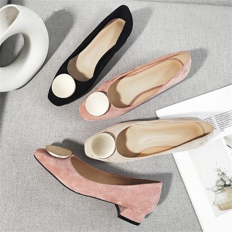 Chaussures de printemps Femme Solid Slip Ons Office de carrière Lady Square High High Talons Faux Sude Femmes Pompes Party Mariage Talons 4 boucles 210310