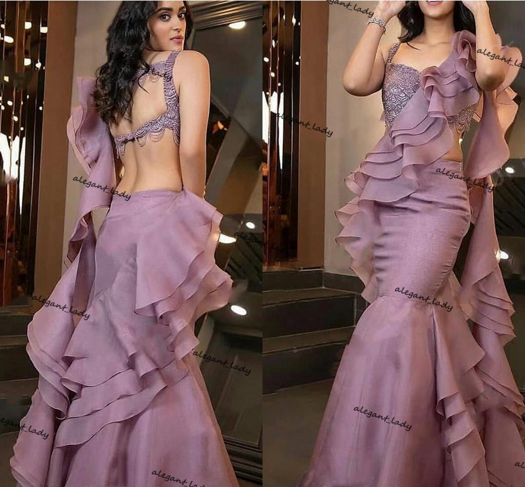 Lavender Ruffles Chiffon Gradient Evening Gowns for Women Prom Party Dress Mermaid Engagement Prom Dresses abendkleider