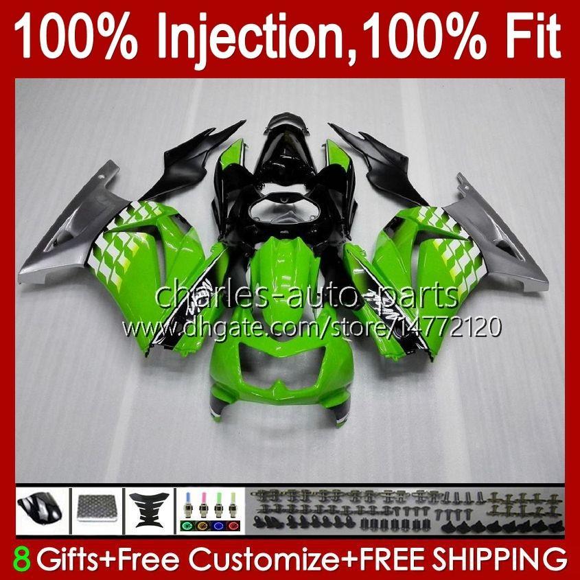 Injektion für Kawasaki Ninja ZX250R EX250 2009 2009 2010 2011 2012 13HC.67 grüner silbriger EX250R ZX-250R ZX250 ZX 250R 08 09 10 11 12 Verkleidung
