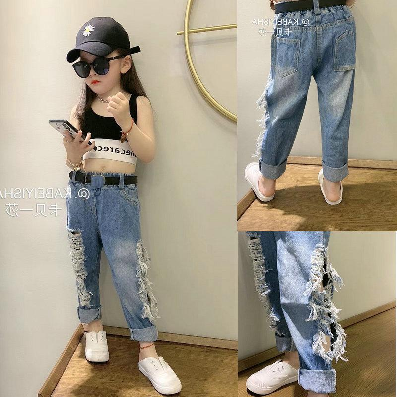 SK INS Summer Spring Kids Girls Jeans Denim Trousers Streetwears Fashions Casual Pants Long Children Clothes