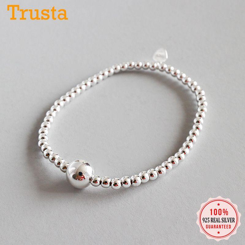 TrustDavis Fashion Genuine 925 Sterling Silver Minimalista 3mm Ancho Beads Pulsera elástica para las mujeres Regalo de joyería de boda 210315