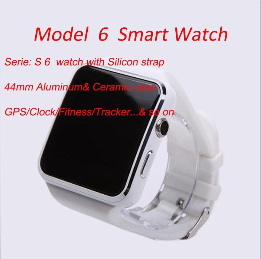 44mm Modell 06 Smart Watch Frauen Männer Smartwatch für Universal Mobiltelefon Elektronik Uhr Fitness Tracker Stunden mit Silikonbanduhren