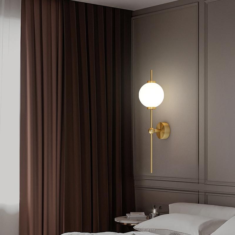 Moderne Gold Foyer Wandleuchte Vierter Kopfteil Korridor Loft Kran Kugel Rundglas bedeckt Innenraum Elektrische Geräte 90bc