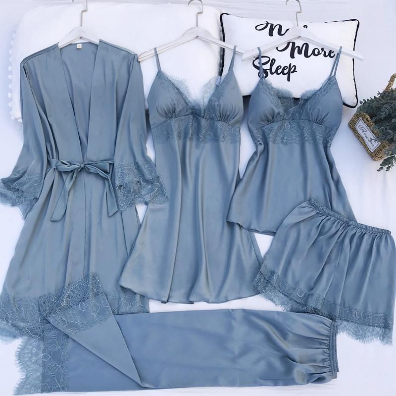 5 unids pijamas Set Silk Satin Womens Lace Nightwear Spring Strap Pijamas Traje Femenino Lounge Sleepwear con almohadillas de pecho Use Use L0304