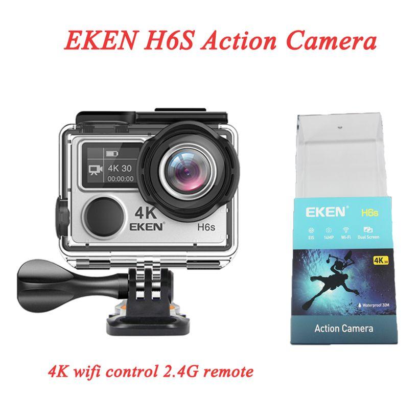 Technologie EIS de haute qualité EKEN HD 4K Caméra de sport Diving Imperméable 14MP H6S Caméra d'action Caméra d'action à 170 ° Large Large WiFi Contrôle 2.4G Remote