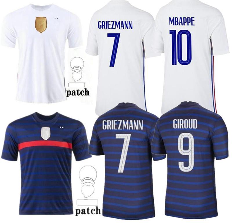 2020 2021 축구 유니폼 Maillots 드 축구 Maillot Equipe de 20 21 MBappe Griezmann Kante Pogba Size S-4XL
