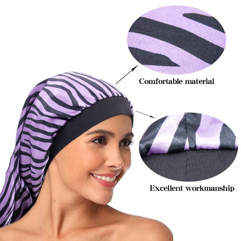 Amazon's New Women's Striped T-shirt notturno Cappello da notte Cappello per capelli lungo Cappello Elastico Long Barrel Bath Cap Produttore Vendite dirette