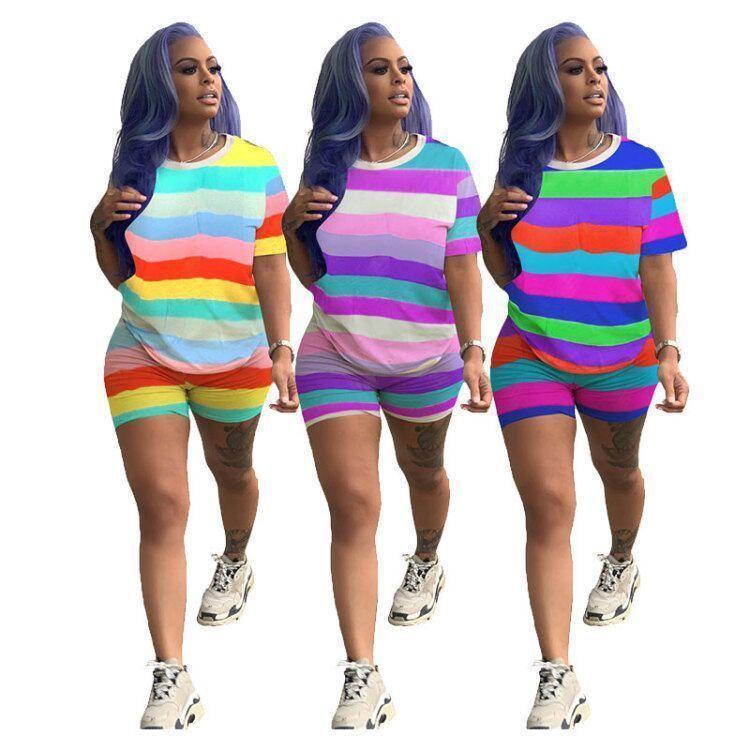 Ropa para mujer 2 pieza Set Sitio deportivo Traje de jogging Tripe Tripulación Cuello Camiseta Bodycon Leggings Shorts Mujeres Rainbow Traje