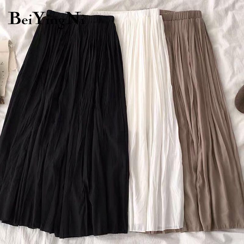 Beiyingni verão mulheres casual cor sólida saia vintage plissado coreano all-match white saias pretas mulher faldas mujer 210305