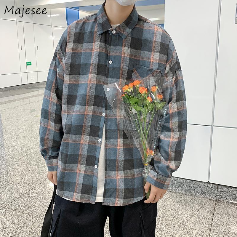 Camisas casuales de los hombres Hombres a cuadros sueltos sueltos Cuello de turno Masculino Moda Tops All-Match Camisa de manga larga Guapo Blusa Otoño Primavera