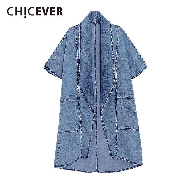 المرأة الخندق معاطف chicever الأزرق للنساء الخامس الرقبة ثلاثة أرباع الأكمام فضفاضة كبيرة الحجم جيوب الصلبة الدنيم 22021 الربيع الملابس