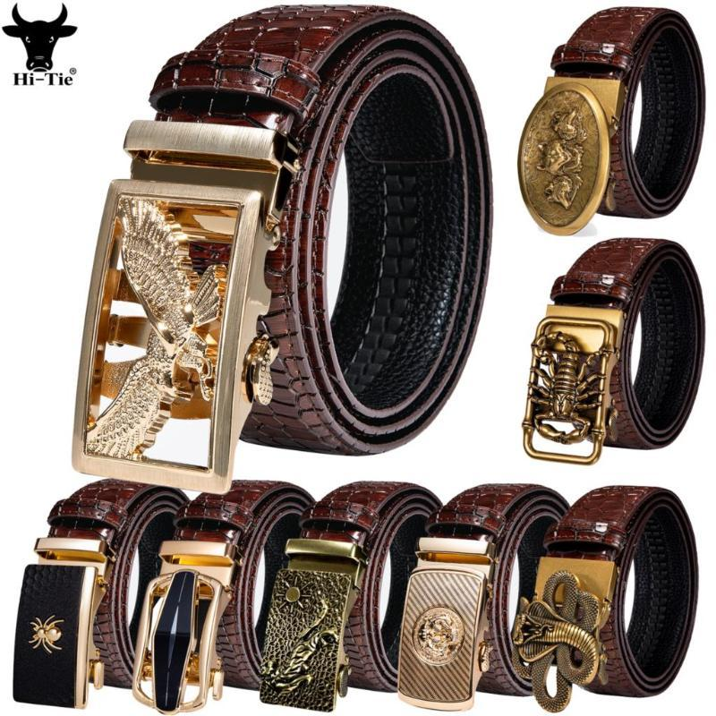 Cinturones HI-TIE 50 TIPOS AUTOMÁTICOS HEJOS AUTOMÁTICOS Hombres para hombre Cinturón Red Borgoña Ratchet Tiger Wolf Eagle Bat Tallas de cintura Boda