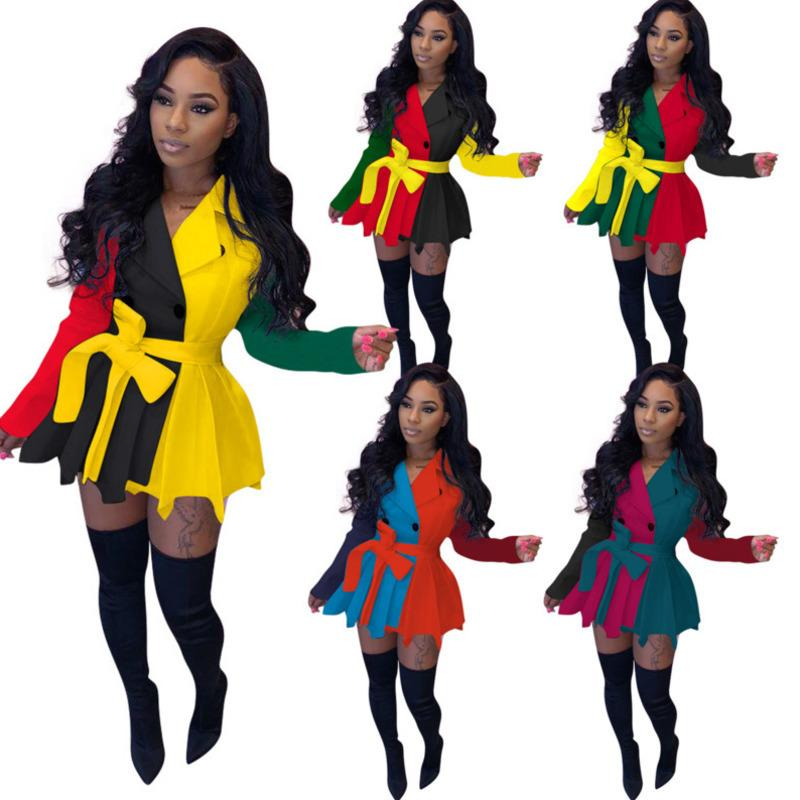 Vestidos de mujer Diseñadores Ropa 2021 Moda Casquía casual de diferentes colores Slim Falda primaria Abrigo Damas Nuevo vestido de manga larga