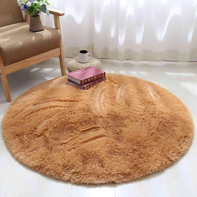 Silk Wool Round Plush Carpet Tent Desk Foot Pad Hanging Basket Chair Floor Mat Fitness Yoga Rug Can Be Washed And Customized