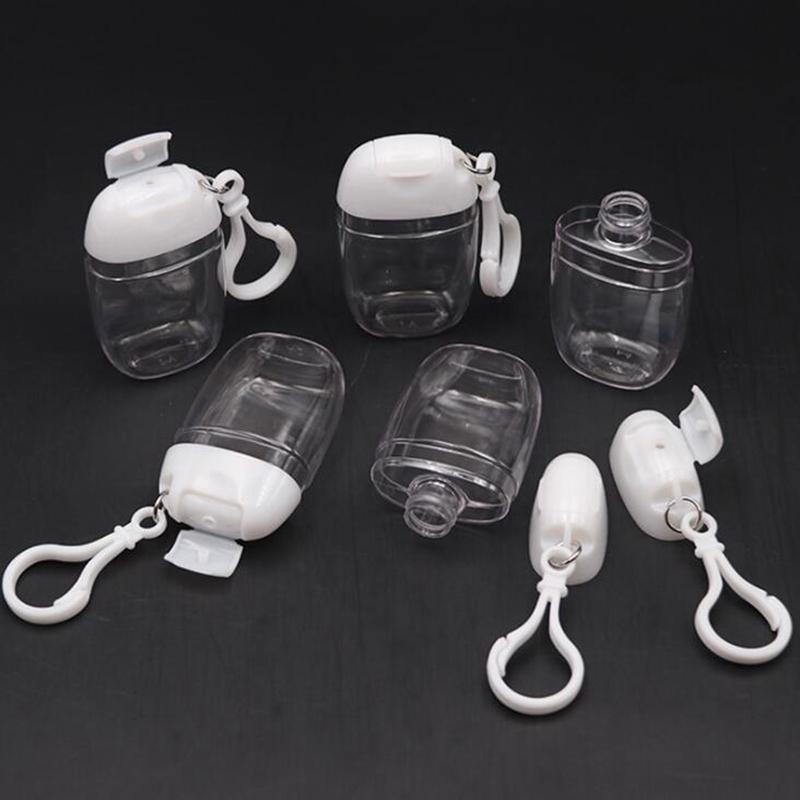 30 мл бутылка для дезинфектора рук с ключевым кольцом Крючок Очистить прозрачный пластиковый пополняемый контейнеры