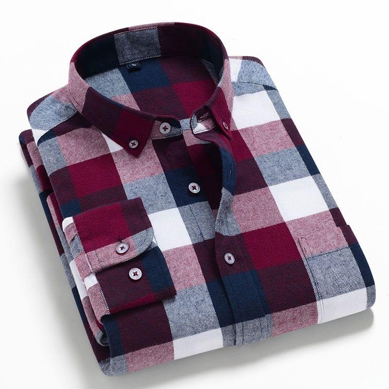 Moda masculina manga comprida escovado camisa de flanela Único remendo bolso confortável algodão casual slim apto xadrez camisas xadrez 210310
