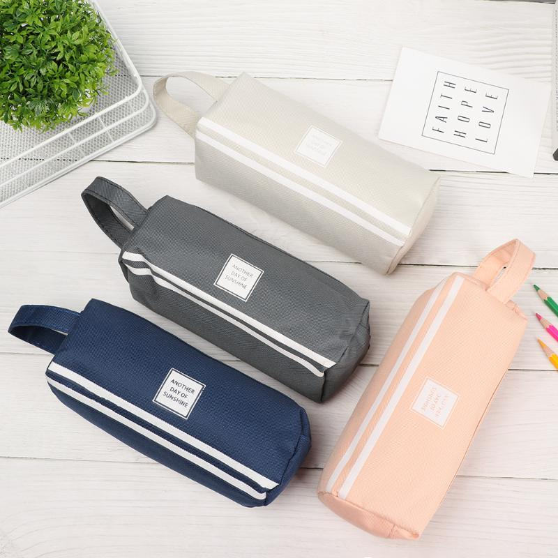 Pencil Bags Creative Large Capacity Double Zip Fabric Cases Canvas Pen Pouch Case Stationery Storage School Office Supplies
