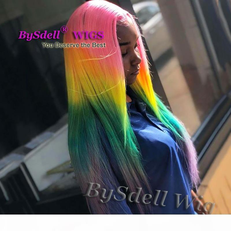 Helle bunte Regenbogen Haarperücke Synthetische Lange Gerade Rosa Gelb grün Lila Ombre Haar Spitze Front Perücken Schönheit Mode Weibliche Perücke