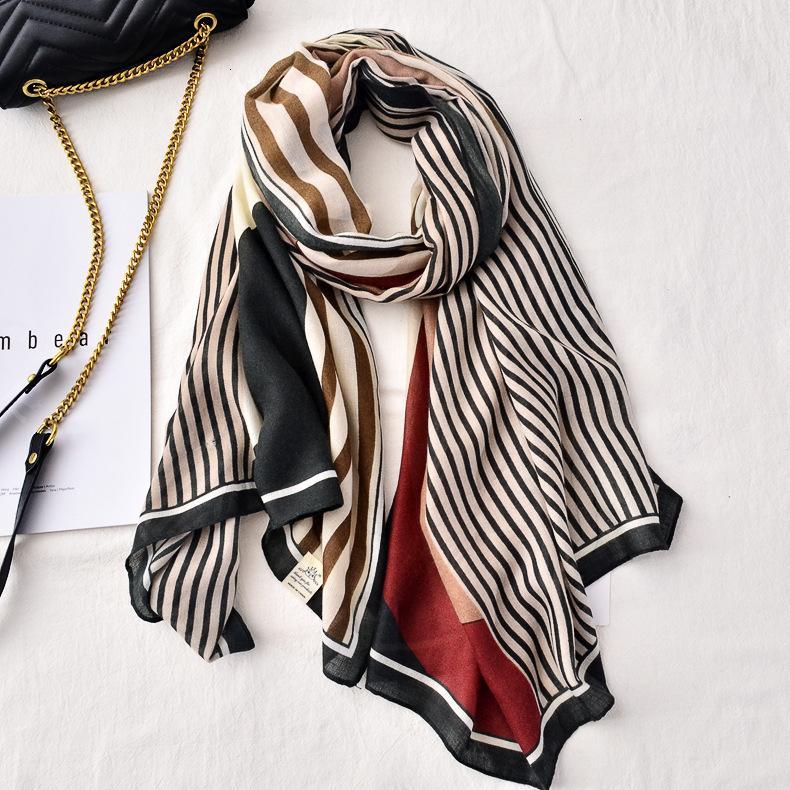 Весна и осень Новая мягкая с мягкой кожи дружелюбный атласный хлопок шарф женский универсальный корейский геометрический цвет соответствует полосу декоративный пляж шали
