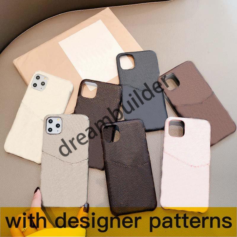 L Moda iPhone 12 Pro Max 11 Pro Max 7 8 Plus x XR XS Max Couro Caso Designer Shell com cartão