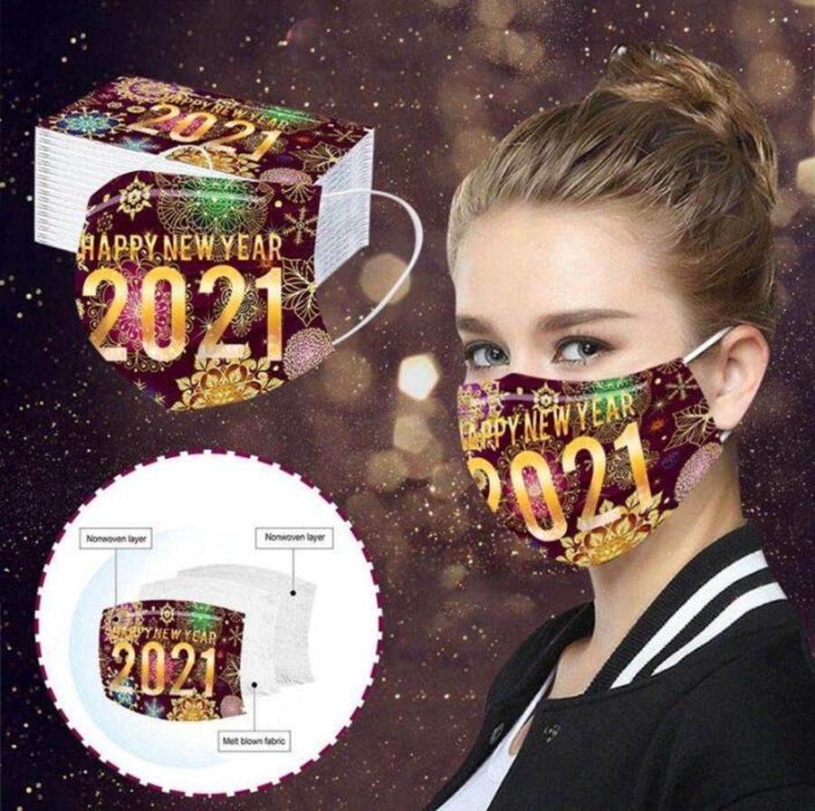 Cara feliz nuevas máscaras año adulto máscaras desechables 2021 impresión cubierta de boca a prueba de polvo máscara protectora transpirable DDA802