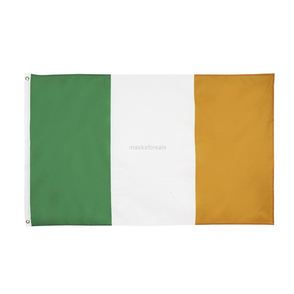 Фабрика Полиэстер Бесплатная Цена 100% Доставка 90 * 150см Прямой Зеленый Белый Оранжевый IR ИК Ирландский Ирландский Флаг для Украшения 9aqv