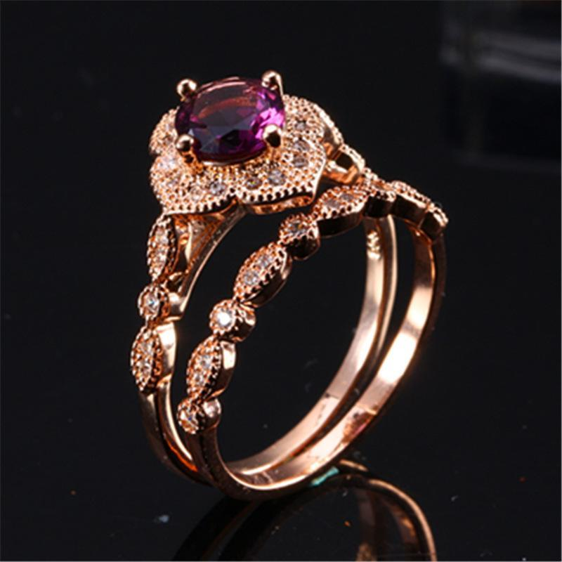 Wedding Rings 2pcs/Set Rose Gold Ring Fashion Purple Inlaid Zircon For Women Jewelry Couple Valentine's Day Gift JP
