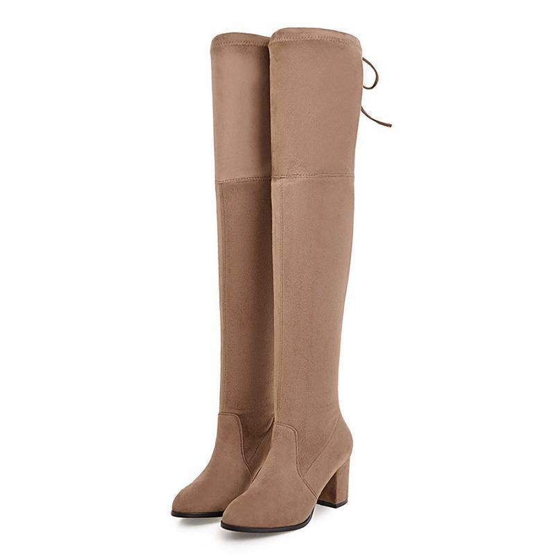 Bottes Lucyever Plus Taille 2021 Femmes sur le genou Sexy Femme Automne Hiver Sude Sude Share Share Talons Chaussures Haute Chaussures Femme 34-43