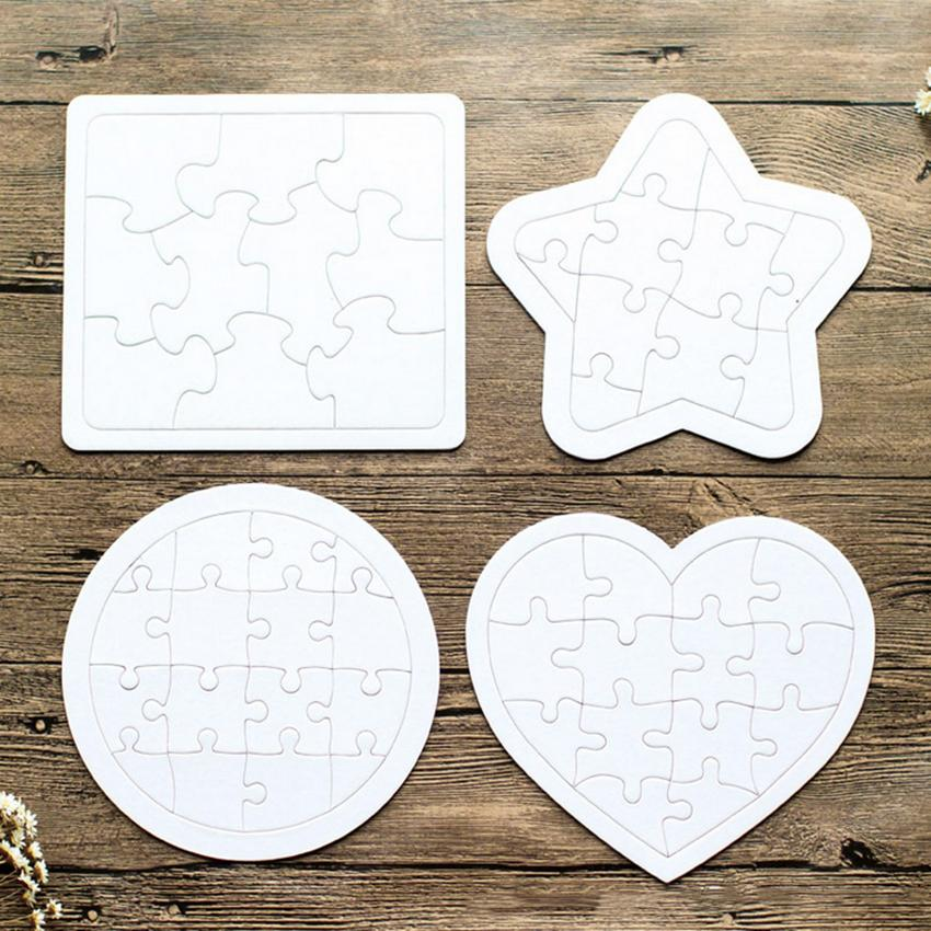 Sublimation Jigsaw Blank White Puzzle 4 shapes DIY Heat Transfer Wooden toys for children toddler creative Paper puzzles A13