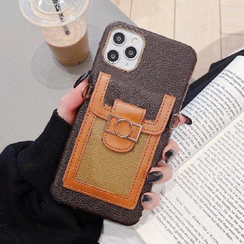 آيفون 12 12 12pro 11 برو ماكس xs xr xsmax 7 8 زائد الحالات الهاتف أعلى جودة الأزياء جلدية بطاقة جيب مصمم الهاتف المحمول غطاء مع الحبل