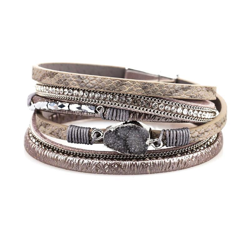 Charm Long PU кожа мода повседневный камень браслет элегантный браслет магнитная пряжка уникальный подарок женщин браслет несколько слоев