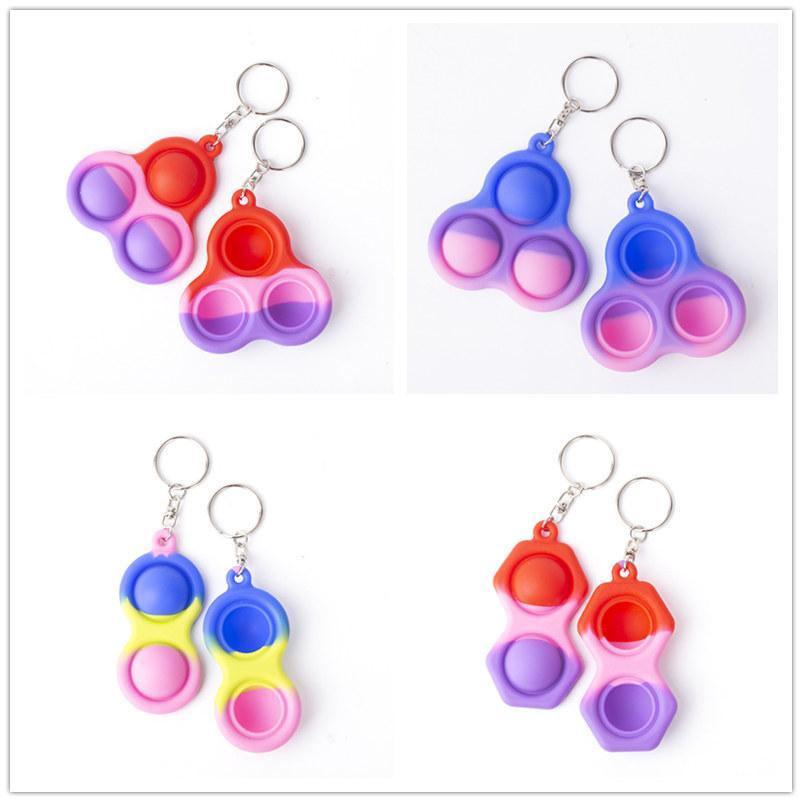 Neue Kinder Pop Pop Blase Time Sensory Dreifarbige Schlüsselanhänger Autismus Sonderanforderungen Stress Reliever Toys Zappeln Einfache Grübchen Spielzeug Schlüsselanhänger