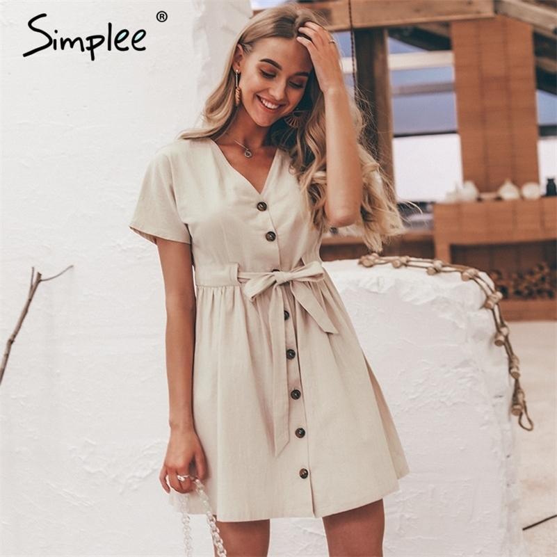 Simplee Vintage Buttons Femme Robe Chemise V ecouf Coton Linge de coton Court Summer Office Robes Casual Coréen Vestidos 210312