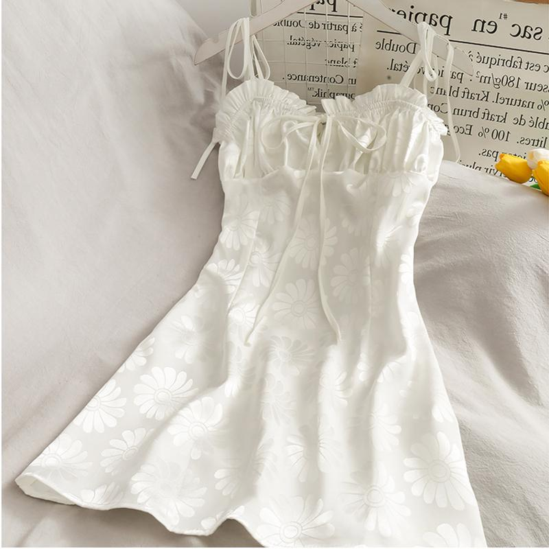 Kawaii coréen femmes robe strap spaghetti décontracté a-ligne femme été mignonne mini robes douces Daisy Vestidos vêtements J0301