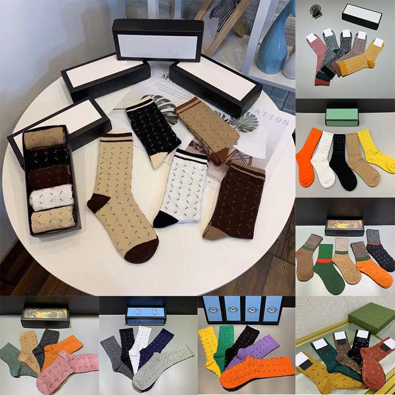 Дизайнеры мужские женские носки пять пары роскошные спортивные зимние сетки письмо напечатаны тигра голова носок вышивка хлопок с коробкой