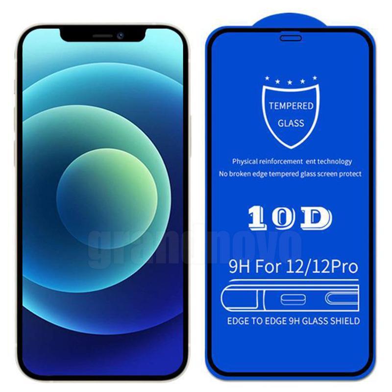 10D Temperli Cam Ekran Koruyucu 9 H Sertlik Tam Tutkal Kapsama Kapak Kavisli Guard Film iphone 13 Pro Max 12 Mini 11 XS XR X 8 7 6 6 S Artı SE