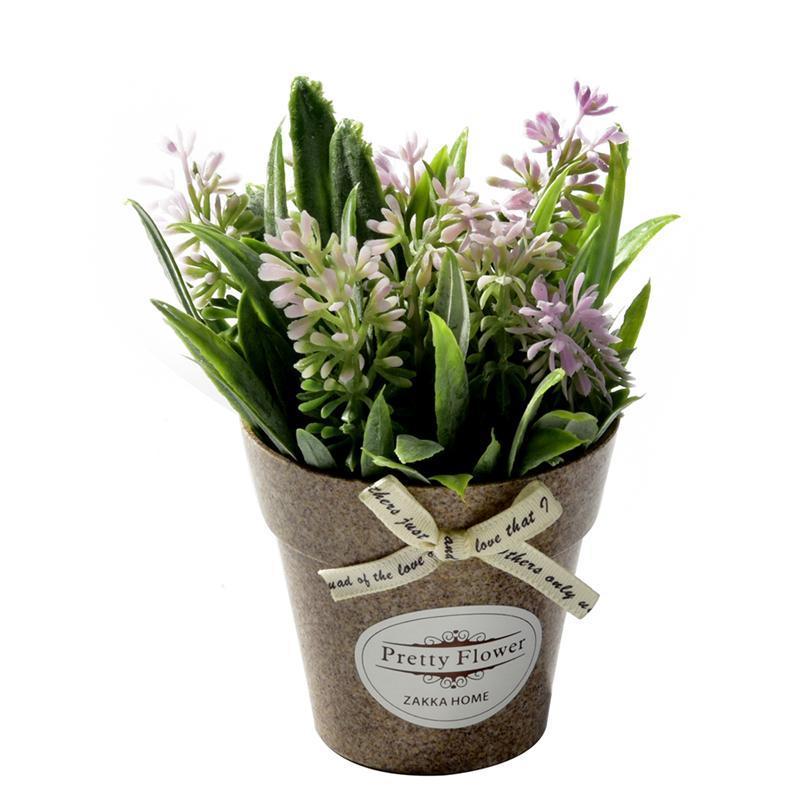 Fleurs décoratives Couronnes Artificielles Plante Fleur Fausse petite mini Potoud Bonsaï Green Accueil Decor 1 set et vase