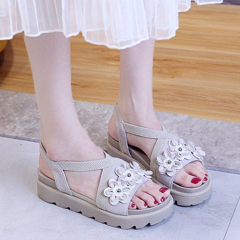 Сандалии летние женщины элегантность каблуки каблуки на цветы обувь для клиньев Chaussure Femme повседневная плоская платформа 5см Zapatos Talon