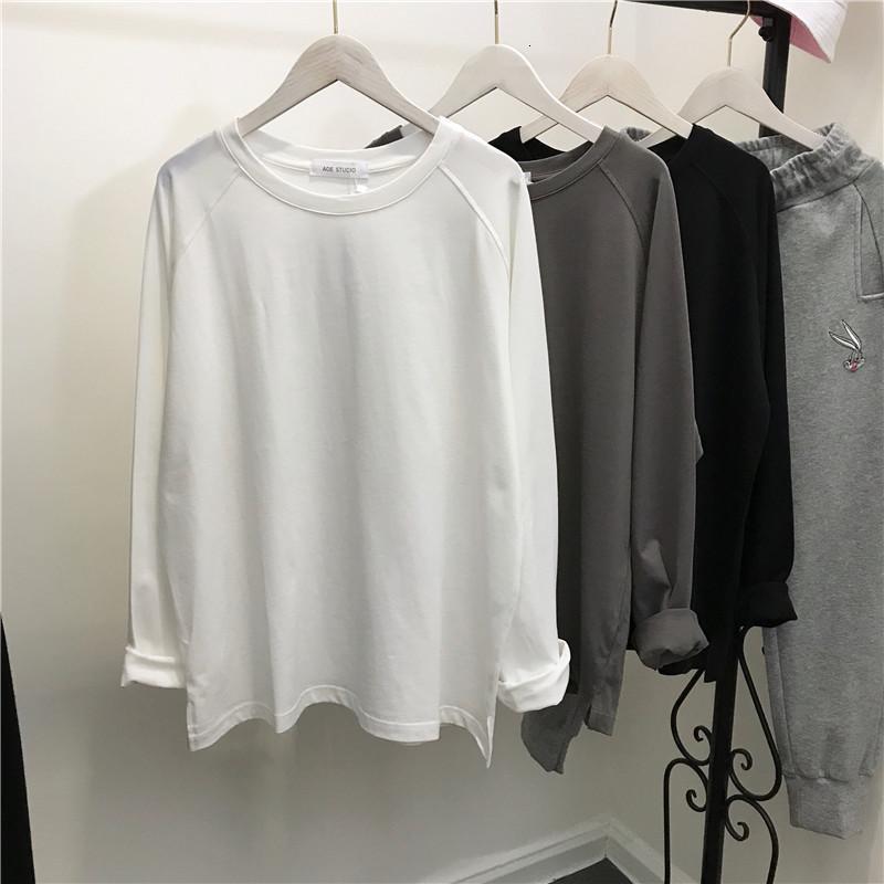 2021 Yeni Kadın Uzun Kollu Gömlek Streetwear Tops Kadın Boy Tee Gömlek Harajuku T-shirt 29