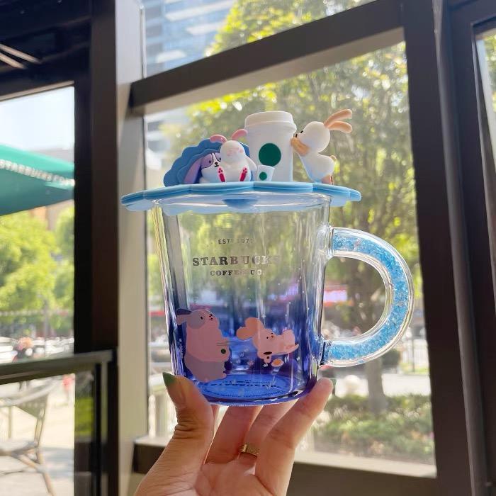 أحدث 12 أوقية ستاربكس القهوة الزجاج القدح، الأزرق التدرج نمط الأرنب نمط ماء، تغليف مربع منفصلة