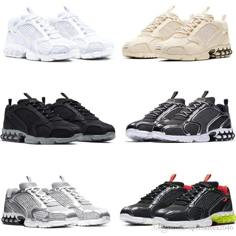 New Track Red Beige Fashion Stussy Zoom Spiridon Caged 2 Men's Running Shoes Sports Trainers Women Sneakers