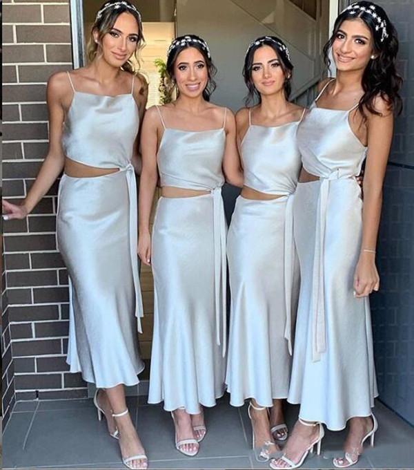 2021 Populaire twee stukken bruidsmeisje jurken een lijn schede spaghetti enkel lengte satijnen bruiloft gasten jurken voor strand tuin bruiloften