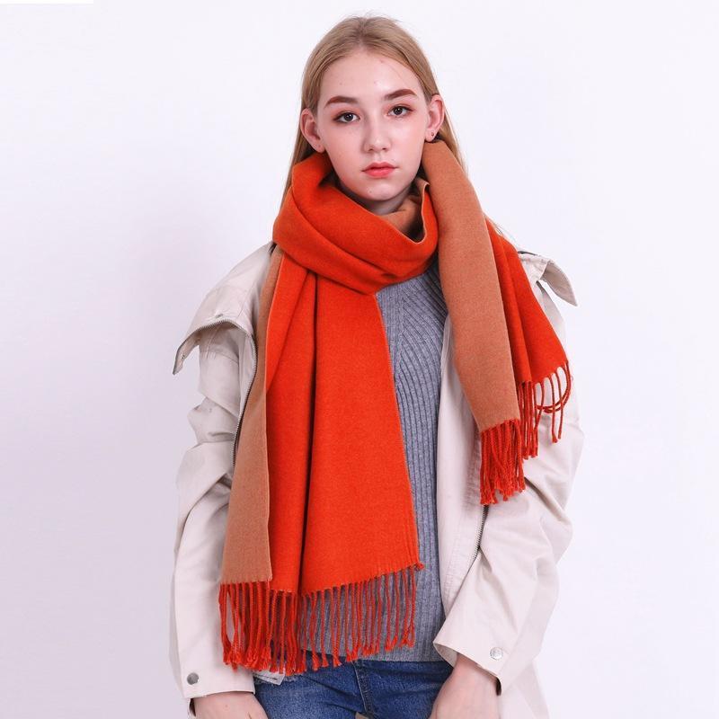 Шарфы падение и зимнее шарф самки с двойной чистой шалью в корейской версии 2021, вид любителей студента'scarf для теплого сохранения