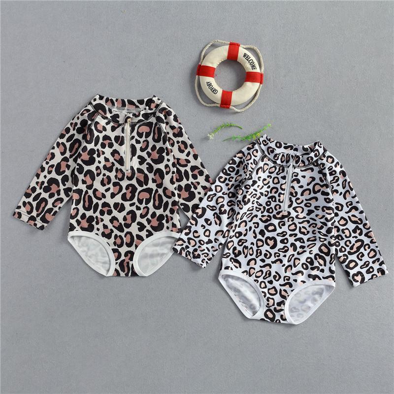 Child Swimwear Girl Leopard Swimsuit Long Sleeve Bikini Bathe Triangl Kid Sun Proof One piece Baby Swimwear Suit
