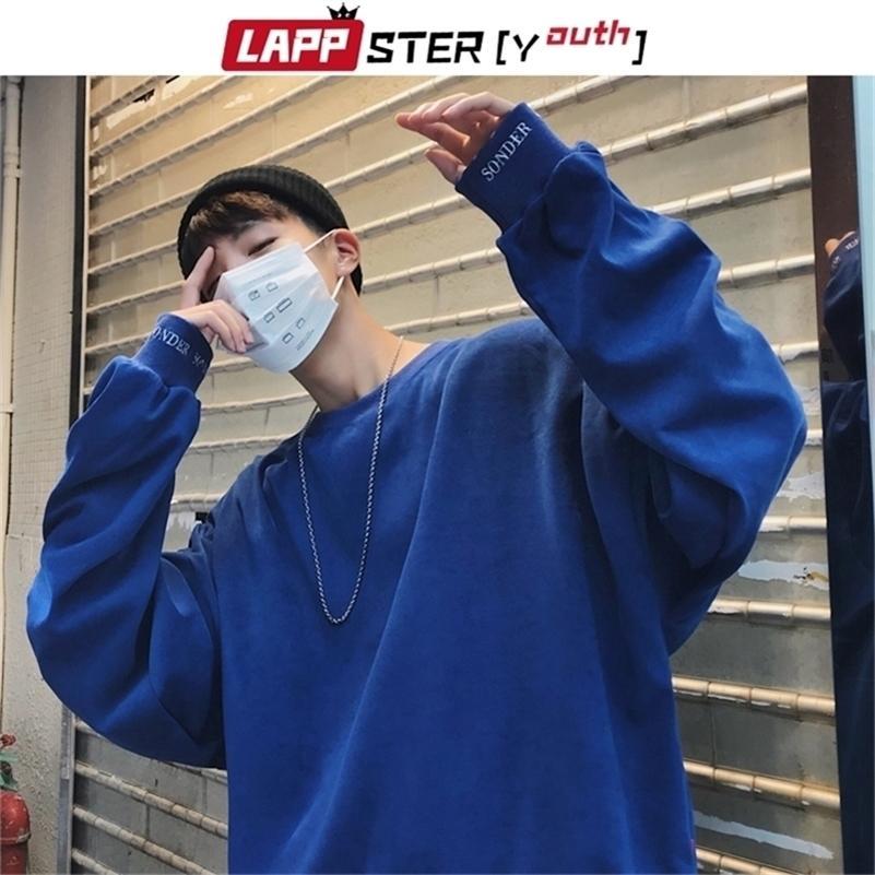 Lappster-juventude homens bordados coloridos modas coreanas hoodies oversized outono streetwear moletom harajuku hoodie lj201222