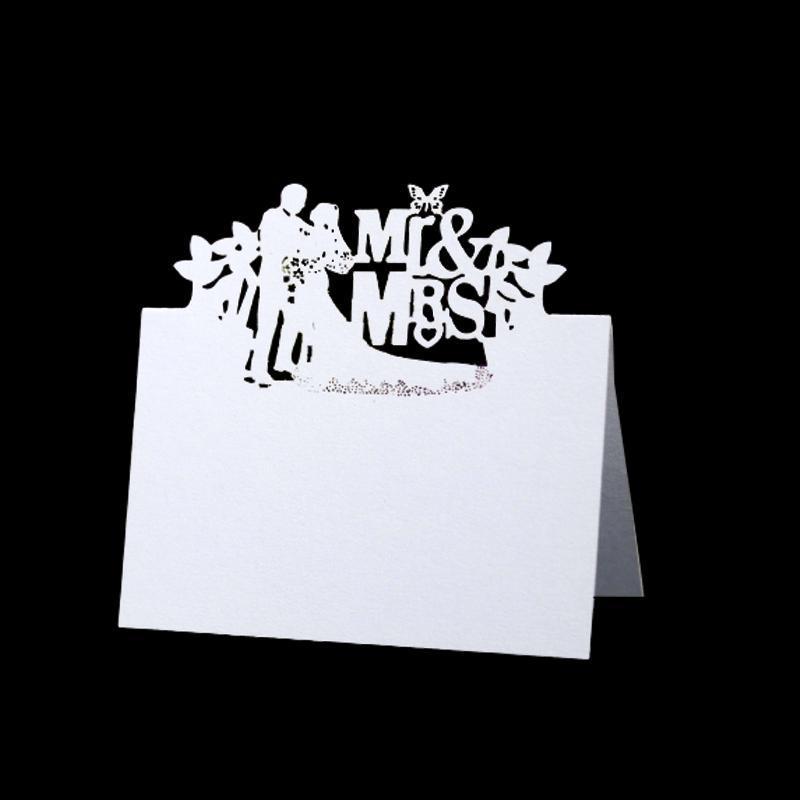 50 / 100pcs 신부 및 신랑 MrMRS 레이저 테이블 이름 장소 카드 레이스 이름 메시지 설정 카드 결혼 생일 파티 호의