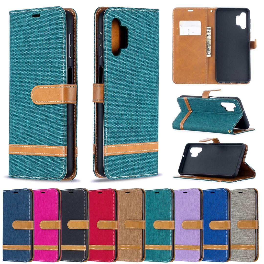 Jean Canvas Leder Wallet Case für Samsung A52 A72 A42 A21S S21 Ultra S20 FE A12 A32 A02S Hybrid Tuch Treffer Flip Cover Strap