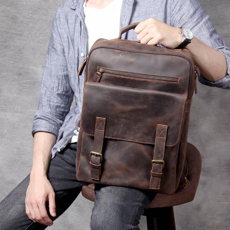 Backpack Vintage Man Bag Crazy Horse Genuine Leather Unisex Big Capacity Laptop Rucksack Cowhide School Travel Backapack
